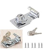 Zinc Alloy 90 Degrees Keyed Hasp Lock Twist Knob Keyed Lock Hasp for Doors Cabinet