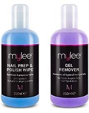 Mylee Toallita Prep & Wipe de Gel Limpiador de Uñas + Acetona Limpiadora y Removedora de Manicura UV LED de 2X250ml
