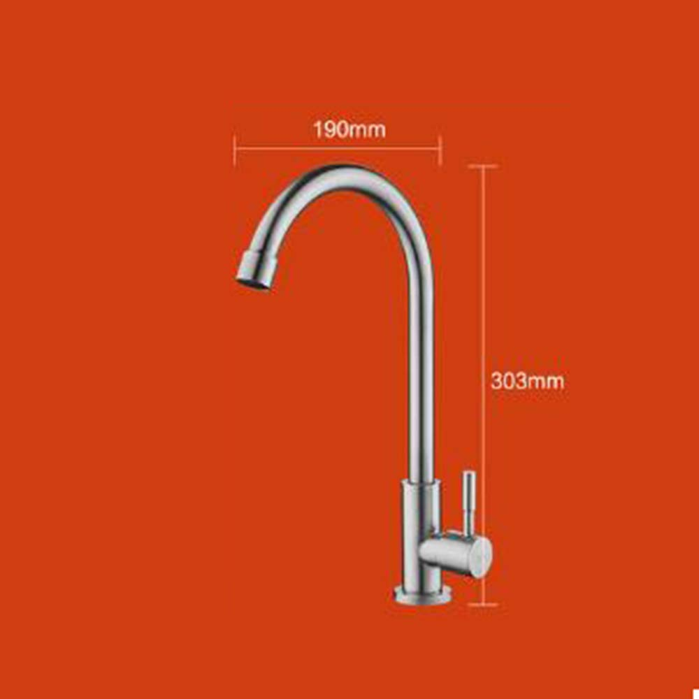A 304stainless Steel Kitchen Sink Faucet Single Handle Touch Faucet Sink Mixer Hot and Cold Single Cold High arc Brass Kitchen Bathroom Bathroom -A