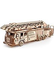 EWA Eco-Wood-Art - 3D-houten puzzel voor jongeren en volwassenen - brandweerauto - doe-het-zelf-bouwpakket, zelfmontage, geen lijm nodig - 439 stuks