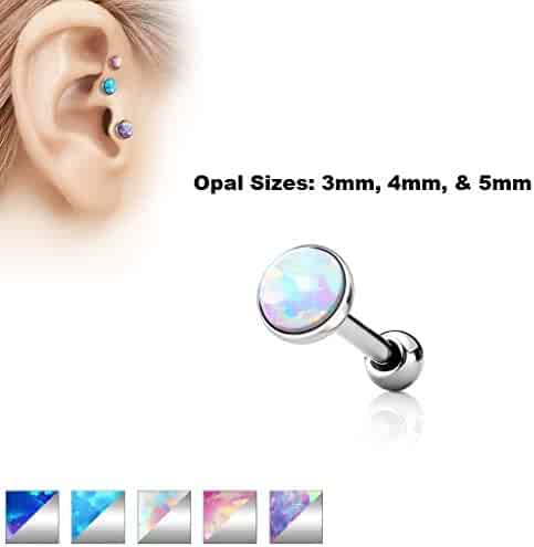 """1pc Triple Round Opal Surgical Steel Tragus Cartilage Ring 16g 1//4/"""""""