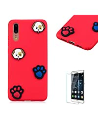 Funyye 3D Silicone Case for Huawei P20,Stylish Cute Dog Footprint Pattern Soft Gel Flexible TPU Cover for Huawei P20,Shockproof Non Slip Slim Fit Rubber Durable Shell Bumper Back Protective Case for Huawei P20 + 1 x Free Screen Protector