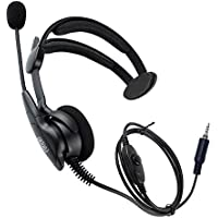 Coodio Over-the-Head Earpiece Headset [Swivel Boom Microphone] [Noise Cancelling] For Yaesu, Standard Horizon 2 Way Radio Walkie Talkie