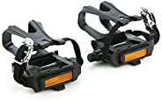 ZONKIE Bike Resin Pedal with Toe Clip/Strap 9/16 Inch