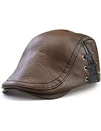 0d4fe220b77 Men s PU Leather Casual Newsboy Cap Ivy Gatsby Flat Golf Driving Hunting  Duckbill Hat