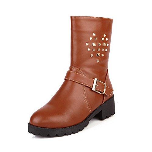 AmoonyFashionWomens Round Closed Toe Kitten PU Heels PU Kitten Soft Material Solid Boots with Metalornament, Brown, 6.5... B00OLFDNXQ Shoes 7fef30