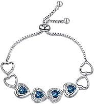 AOBOCO Endless Love Series Bracelet Sterling Silver Adjustable Bracelet,Fine Jewelry Gift for Women Girls