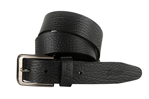 Nerita Men's Formal Casual Genuine Leather Belt Cobra Print with Buckle Black