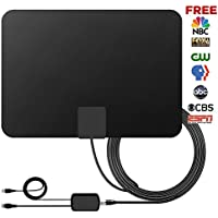 60+Miles Indoor Amplified TV Antenna - Vintv Upgraded Digital HDTV Antenna with Detachable Amplifier Channels Booster Free TV for 1080P VHF UHF High Reception Long Range with 10Ft Cable