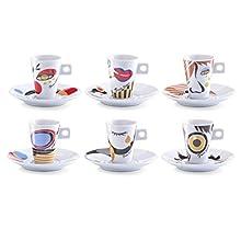 Zeller 26505 Servicio de Café Expreso, Porcelana, Multicolor, 30x15x8 cm, 12 Unidades