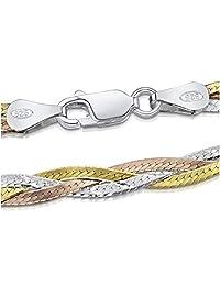 Amberta 925 Sterling 3 Tone Silver 5 mm Herringbone Chain Size: 18 20 inch