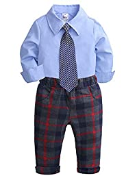 SUPEYA Toddler Baby Boys Gentleman Long Sleeve Tie Shirt+Plaid Pants Outfits Set