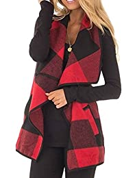 Womens Lapel Open Front Sleeveless Plaid Vest Cardigan...