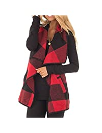 HELIDA Womens Lapel Open Front Sleeveless Plaid Vest Cardigan with Pockets S-2XL