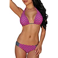 Roswear Women's Fuchsia Chevron Print Triangle Brazilian String Bikini Swimsuit Set