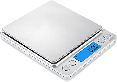 AMIR 500g/0.01g Digital Kitchen Scale, High-precision Pocket Food Scale, Multifunctional Pro Scale with Back-Lit LCD Display, Tare, PCS Features, Stainless Steel, Batteries Included (Silver)