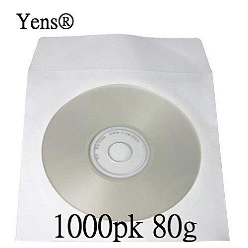 Yens 1000 pcs White CD DVD Paper Sleeves Envelopes