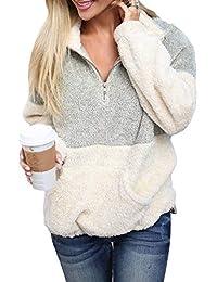 Women's Cozy Oversize Fluffy Fleece Sweatshirt Pullover Outwear (18 Color,S-XXL)