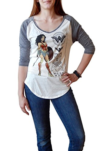 Wonder+Woman+Shirts Products : Wonder Woman Posed Heather V-Neck Raglan T-shirt