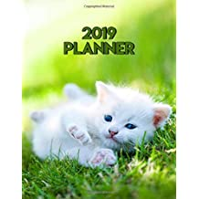2019 Planner: Pretty Sweet White Kitten Daily, Weekly & Monthly Views Organizer with To-Do Lists, Inspirational Quotes and More. Cute Crazy Cat Lady Agenda and Calendar with Vision Boards and 20+ Ruled Notes Pages.