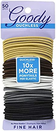 Goody Ouchless Braided Elastics, Value Pack, 2 mm, 50 Count