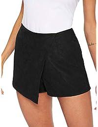 WDIRARA - Falda asimétrica para Mujer con Ribete de Contraste, Cintura Media y Nudo Lateral, Negro (Black-1), XS