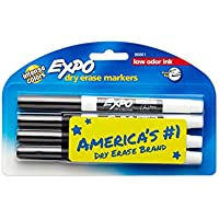 4 Count Expo 86661 Low-Odor Dry Erase Markers, Fine Point (Black)