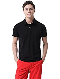 T-05 Men's Casual Classic Pure Cotton Solid Golf Short Sleeve Polo Shirt