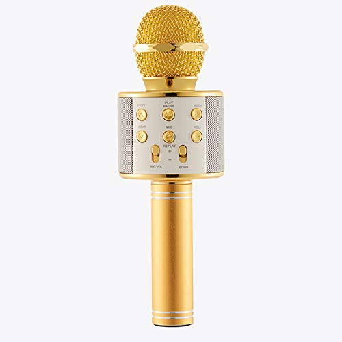 Price comparison product image Buybuybuy Bluetooth Karaoke Microphones,  3 in 1 Multi-function Wireless Microphone Speaker for iPhone,  Android,  Portable Mic for KTV,  Home,  Party Singing K Song Artifact Sing (Gold)