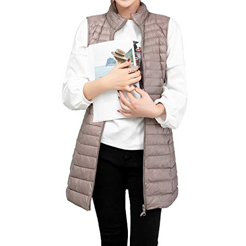 ELFJOY Women's Ultra Light Long Down Vest Grey M