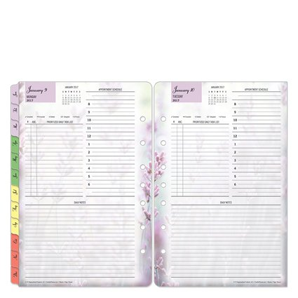 Classic Blooms One-Page-Per-Day Ring-bound Planner - Jan 2017 - Dec 2017