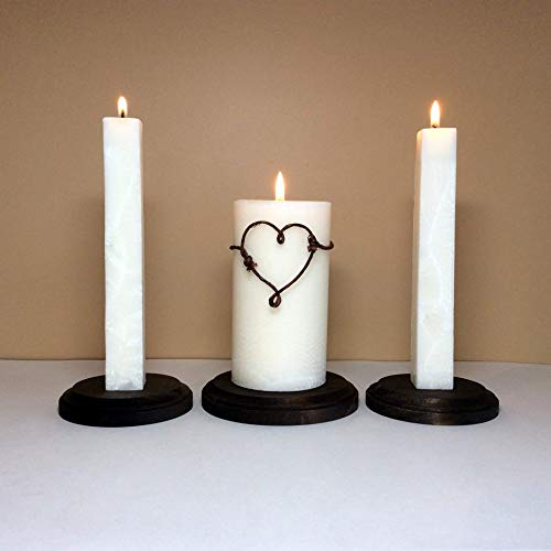 Two Hearts Unity Candle - Rustic Unity Candle Set and Stand for Wedding Ceremony