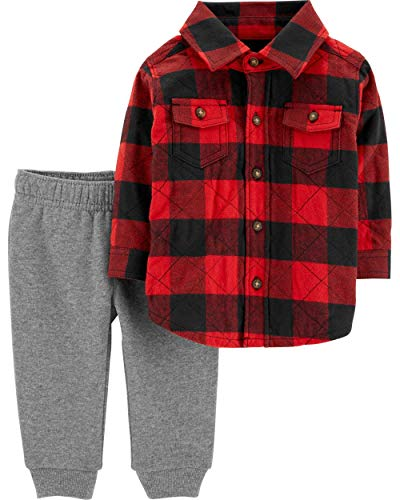 Moose Carters - Carter's Baby Boys' 2-Piece Buffalo Check Button-Front & Jogger Set, Red (3 Months)