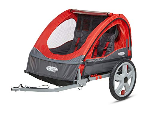 InStep Take 2 Double Seat Foldable Tow Behind Bike Trailers, Featuring 2-in-1 Canopy and 16-Inch Wheels, for Kids and Children, Red (Renewed)
