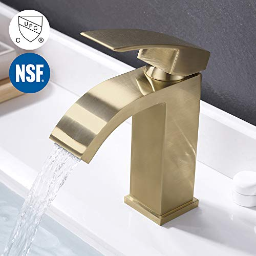 KES Brushed Gold Bathroom Waterfall Faucet Single Handle One Hole Vanity Sink Faucet cUPC NSF Certified Lead Free Brass, L3109ALF-BZ