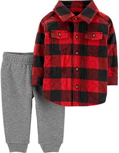 f04d1ca66b7 Carter s Baby Boys  2-Piece Buffalo Check Button-Front   Jogger Set
