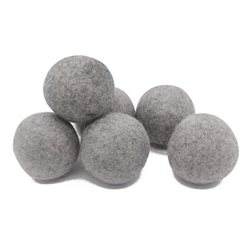 Wool Dryer Balls, Natural Organic Laundry Fabric Softener Save Drying Time Reduce Wrinkle,Reusable Hypoallergenic Baby Safe and Unscented,Better Alternative to Plastic Ball Liquid Softener-6 Pack