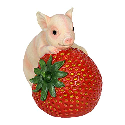(Exhart Happy Piglet on Strawberry Garden Statue – Light Up Whimsical Resin Statue of a Piglet Perched on a Strawberry w/Solar LED Lights - Cute Pig Decor Ideal for Outdoors)