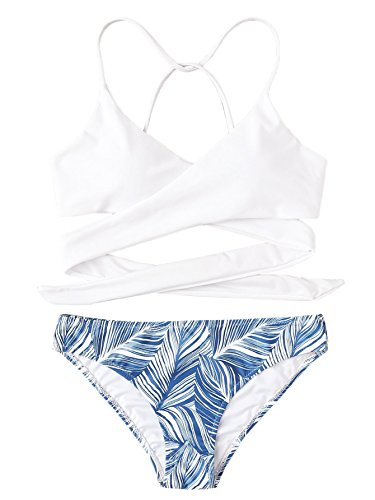 (SOLY HUX Women's Tropical Print Criss Cross Wrap Two Piece Bikini Set White S)