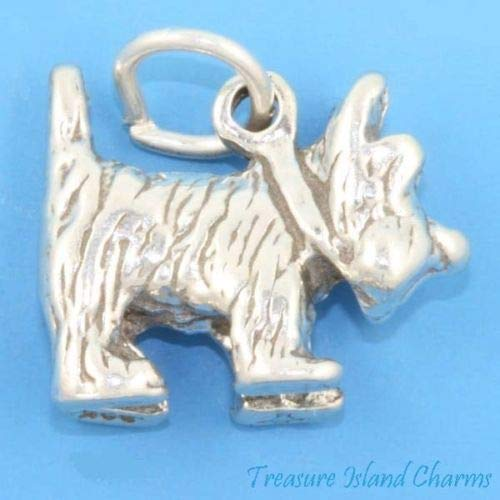 Wizard of Oz Toto Cairn Terrier Dog 3D 925 Solid Sterling Silver Charm Pendant Crafting Key Chain Bracelet Necklace Jewelry Accessories Pendants -