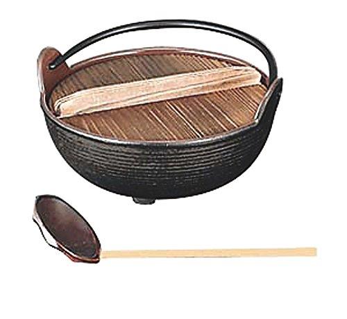 田舎鍋 (いろり鍋) 内面ホーロー 杓子付 鉄製 30cm 日本製 国産   民芸杓子 付   B01M312Y2J
