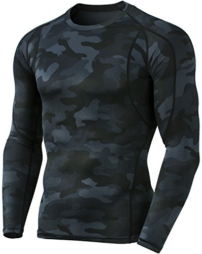 Tesla TM-MUD11-MBK_X-Large Men's Long Sleeve T-Shirt Baselayer Cool Dry Compression Top MUD11 - Boys Coldgear Long Sleeve