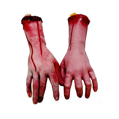 [Helisopus 2pcs Halloween Horror Props Bloody Hand Bar Haunted House Props Tricky Toys Party Supplier-Latex Party Grabbing Hand] (Creative Homemade Group Costumes)