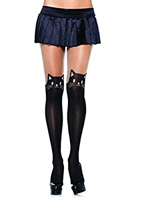 Leg Avenue Women's Black Cat Spandex Opaque Pantyhose