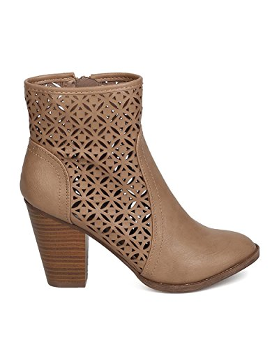 Breckelles Ga74 Kvinnor Läder Perforerade Chunky Klack Bootie Taupe