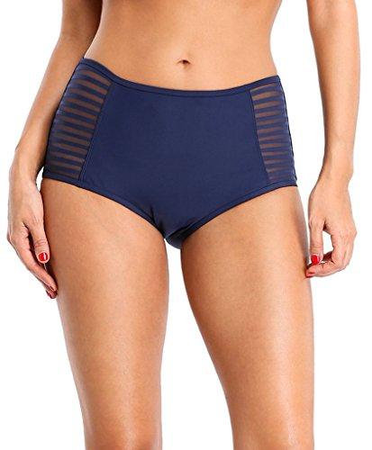 ATTRACO Womens Stripe Shorts Swimwear mesn high Waist Bathing Suit Bottom Size S (Waist Short Stripe)
