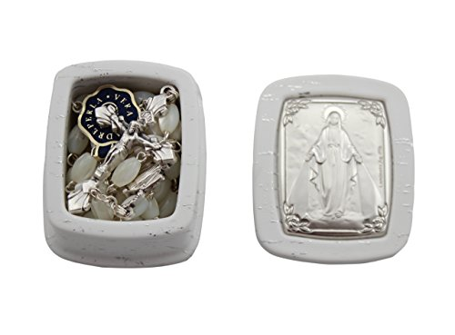 Mother of Pearl Oval Bead Rosary with White Our Lady of Grace (Grace White Pearl)