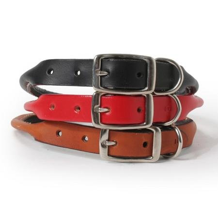 Rolled Leather Dog Collar-12-BLACK