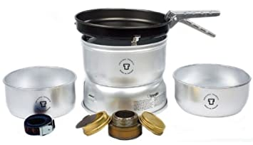 Trangia – 25-3 Ultralight Camping Cookset Includes Alcohol Stove, 2 Pots, 1 Frypan, Upper Lower Windshields, Pot Gripper, Strap