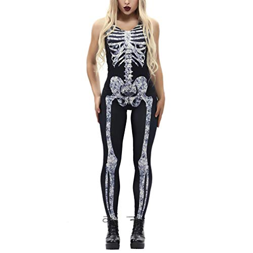 iOPQO Halloween Sweater for Woman, Sexy Bone Print Fashion Sling Slim Jumpsuit for $<!--$13.48-->